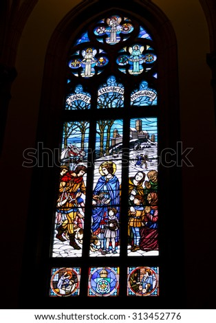 PETROPOLIS, RIO DE JANEIRO / BRAZIL - August 20, 2015 : stained glass window depicting St. Elisabeth of Hungary - San Pedro de Alcantara Cathedral - Imperial City of Petropolis