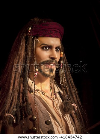 PETROPOLIS, RIO DE JANEIRO / BRAZIL - September 01, 2015 - Petropolis Wax Museum - homage to JOHNNY DEPP - close up - character in the movie PIRATES OF THE CARIBBEAN - open to visitors - stock photo