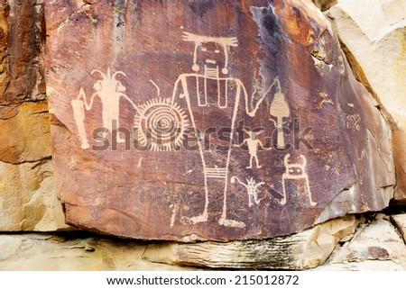 Petrroglyps at McKee Springs. Dinosaur National Monument (USA. Utah) - stock photo