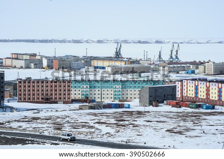 Pevek Chukotka, Russia - April 27, 2015: View of the residential area of the northern city of Russia. Sunny day, panoramic view from the top