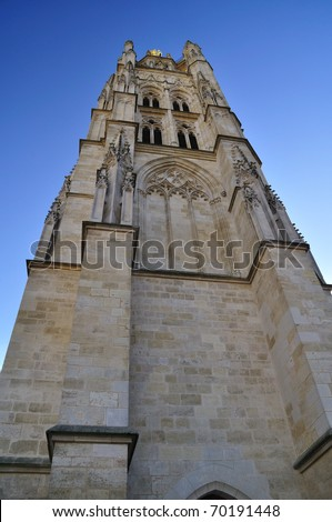 Pey-Berland bell tower, next to Saint André Cathedral, Bordeaux, France - stock photo
