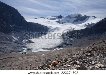 Peyto Glacier, Banff National Park, Alberta, Canada Approximately 30 Miles North of Lake Louise  - stock photo