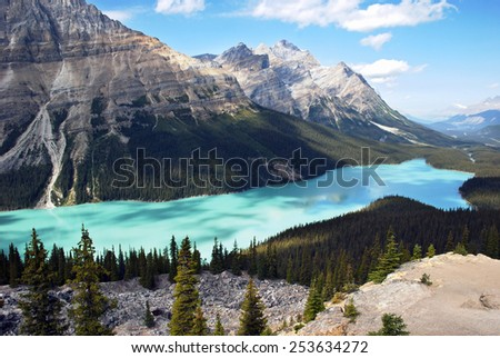 Peyto Lake is a glacier-fed lake located in Banff National Park in the Canadian Rockies. - stock photo