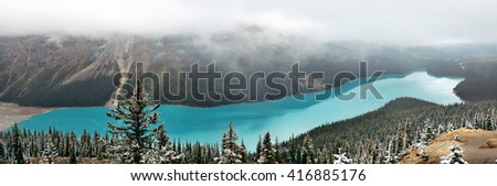 Peyto Lake panorama in winter with snow in Banff National Park, Canada - stock photo