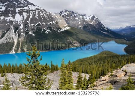 Peyto lake, Rocky Mountains, Canada - stock photo