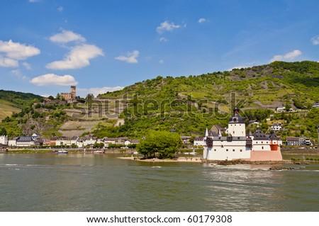 Pfalzgrafenstein and Gutenfels castle - stock photo