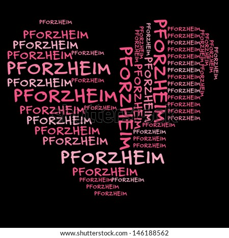 Pforzheim word cloud in pink letters against black background