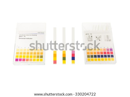 pH paper with pH values isolate on white - stock photo
