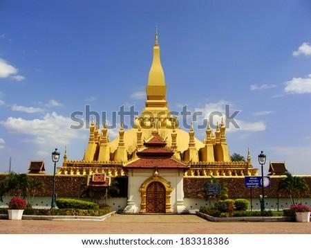 Pha That Luang stupa, Vientiane, Laos, Southeast Asia - stock photo