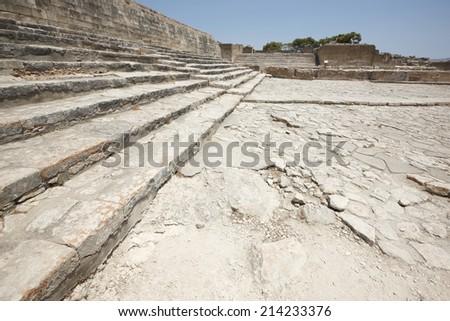Phaestos minoan palatial city ruins in Crete. Greece. Horizontal - stock photo