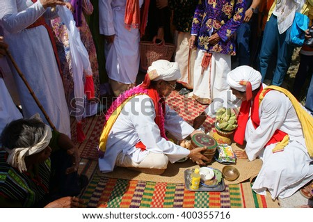 PHAN RANG, VIET NAM- OCT 22: Kate festival, charater traditional culture of Cham Awal (Cham Balamon) people, important ceremony of Cham religion, hold on annual, Vietnam, Oct22, 2014