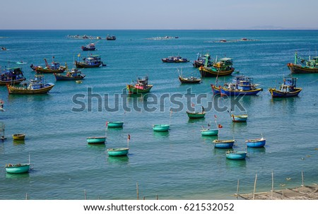 Phan Thiet, Vietnam - Mar 26, 2017. Many basket boats on the sea in Mui Ne town, Phan Thiet, Vietnam. Mui Ne is a coastal fishing town in the Southern Vietnam.
