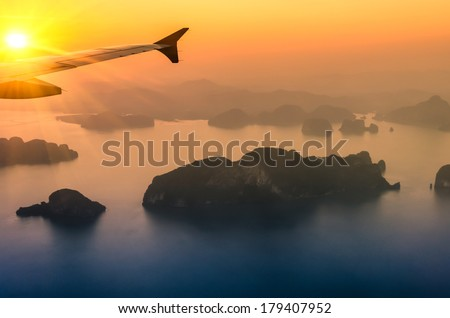 Phang Nga Bay at Sunset - Phuket Nature Wonders in Thailand  - stock photo