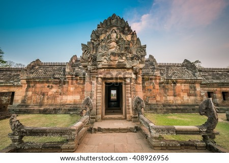 Phanom Rung historical park is Castle Rock old Architecture about a thousand years ago at Buriram Province,Thailand - stock photo