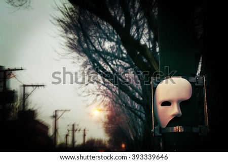 Phantom of the Opera Mask with Dramatic Trees