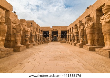 Pharaohs statues in The temple of Karnak in Luxor Egypt - stock photo