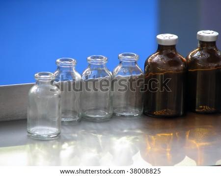 pharmaceutical bottles. medicament bottle. - stock photo