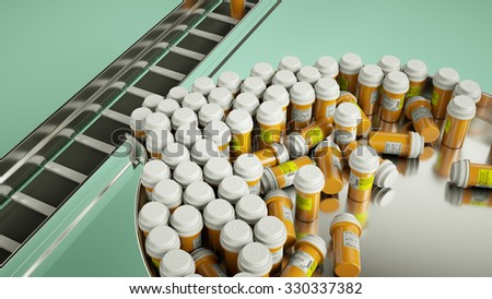 pharmaceutical business manufacturing pills and drugs. medicine and pharmacy (custom render and caption with custom type and letters) - stock photo