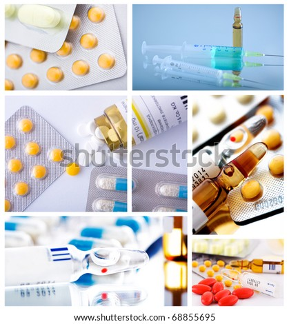 pharmaceutical collage background from several image - stock photo