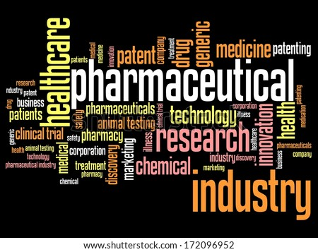 Pharmaceutical industry and medicine word cloud illustration. Word collage concept. - stock photo