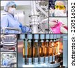 Pharmaceutical Manufacturing Technology. Collage of photographs  presenting pharmaceutical concept. Pharmaceutical industry. Medicine manufacturing. Pharmaceutical workers at work. - stock photo