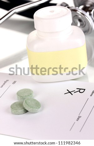 Pharmacist prescription with pills isolated on white - stock photo