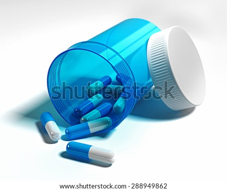 Pharmacology.  Opened blue bottle with pills - stock photo