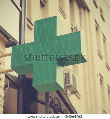 pharmacy.  Medical Cross Green - stock photo