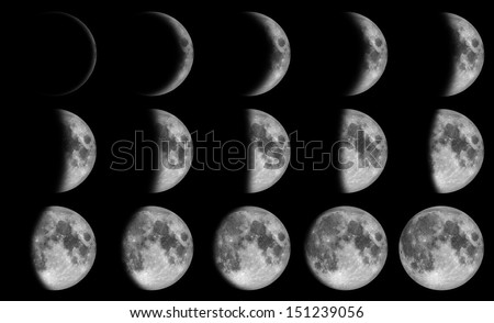Phases of the moon - 15 day in the night time  - stock photo