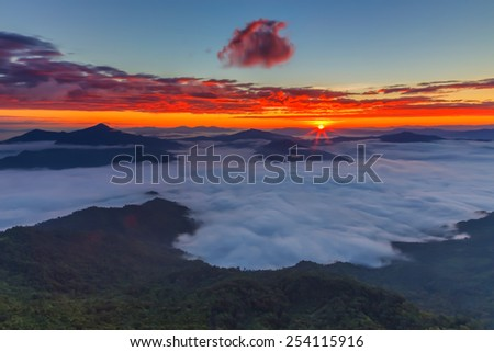 phatang with mist in the morning. - stock photo