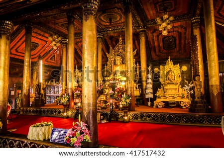 Phayao - August 04,2015: buddha statue in temple at Phayao province, Thailand.