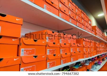 Phetchaburi, Thailand - October 11, 2017 : Nike factory store Outlet Park  shopping mall