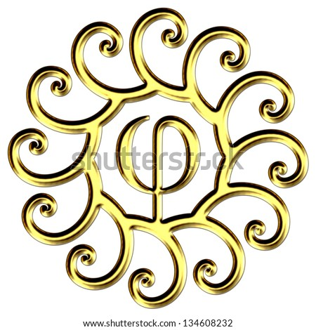 Phi, golden ratio, spirals - isolated on white background - stock photo