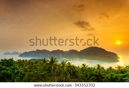 Phi phi island at sunset, Southern of Thailand - stock photo