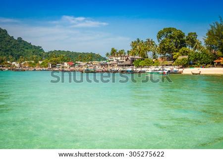 Phi phi island in andaman sea, Phuket, Krabi, Thailand - stock photo