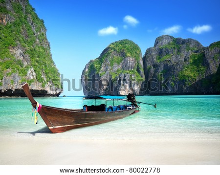 Phi Phi island Maya bay - stock photo