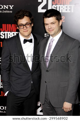 Phil Lord and Chris Miller at the Los Angeles premiere of '21 Jump Street' held at the Grauman's Chinese Theater in Hollywood on March 13, 2012.  - stock photo