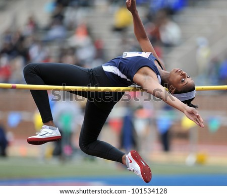 PHILADELPHIA - APRIL 26: Erika Hurd from Manchester Valley HS competes in the girls high school high jump championship at the Penn Relays April 26, 2012 in Philadelphia.
