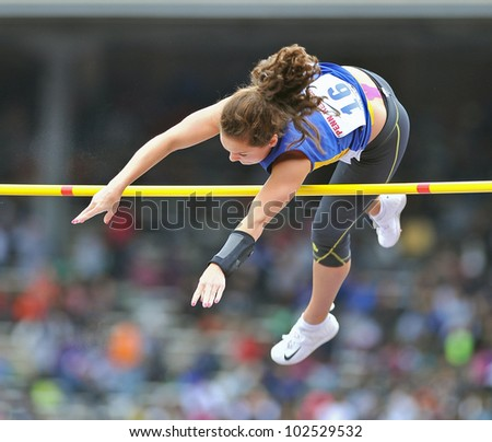 PHILADELPHIA - APRIL 26: Lauren O'Connell from Newtown goes over the bar in the girls high school pole vault championships at the Penn Relays April 26, 2012 in Philadelphia.