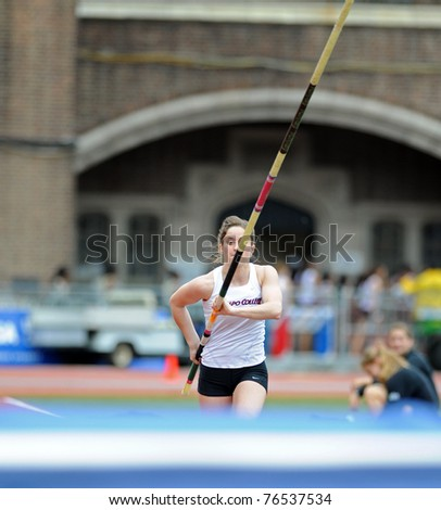 PHILADELPHIA - APRIL 28: Michelle Favre of Ramapo College sprints down the runway making her first attempt at the college ladies pole vault at the 117th Penn Relays on April 30, 2011 in Philadelphia, PA