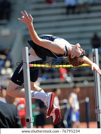 PHILADELPHIA - APRIL 29: Penn State high jumper Jon Hendershot attempts to clear the bar early in the College Men's High Jump Competition at the 117th Penn Relays on April 29, 2011 in Philadelphia, PA - stock photo