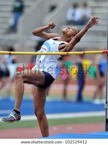 PHILADELPHIA - APRIL 26: Tara Richmond from Columbia competes in the ladies college high jump at the Penn Relays April 26, 2012 in Philadelphia.
