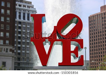 """PHILADELPHIA - AUGUST 30:  Love Park in Philadelphia on August 30, 2008. The park's  """"Love"""" sculpture, built by Robert Indiana, was placed in the park in 1976 as part of the Bicentennial celebration. - stock photo"""