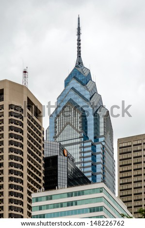 PHILADELPHIA - CIRCA MAY 2013: One Liberty Place, Philadelphia, circa May 2013. One Liberty Place is 61 stories tall. At 945 feet (288 m), it is the second tallest building in Philadelphia - stock photo
