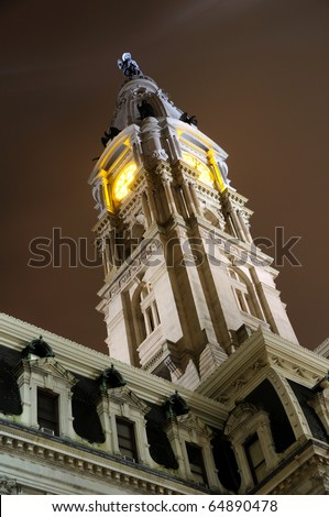 Philadelphia City Hall Clock Tower at Night - stock photo