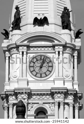 Philadelphia City Hall Clock Tower in black and white - stock photo