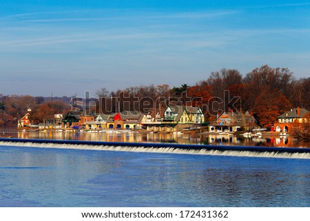 PHILADELPHIA - DEC 1: The Schuylkill River, Fairmount Dam Fishway on Dec 1, 2013 in Philadelphia, USA. The Schuylkill River hosts Philadelphia�s famed boathouse row - stock photo