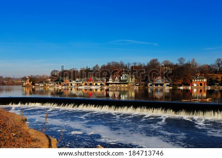 PHILADELPHIA - DEC 1: The Schuylkill River, Fairmount Dam Fishway on Dec 1, 2013 in Philadelphia, USA. The Schuylkill River hosts Philadelphia�s famed boathouse row - stock photo