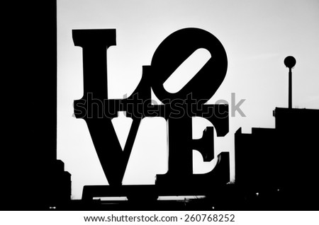 PHILADELPHIA - FEBRUARY 17: The Love sculpture in Philadelphia on February 17, 2014. The Love sculpture silhouette photo in black and white. - stock photo