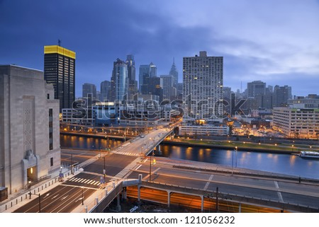 Philadelphia. Image of Philadelphia skyline and streets of Philadelphia during twilight blue hour. - stock photo